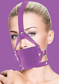 Кляп Leather Mouth Purple OUCH!  SH-OU148PUR